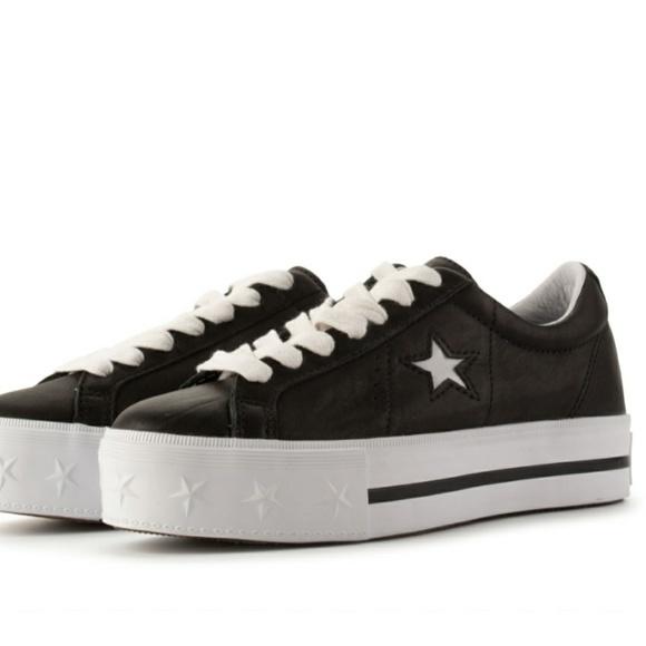 5213dd919b30 NWT Converse All Star Black Leather Platforms